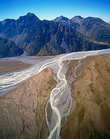 Aerial view on Hooker River valley, Mount Cook National Park, South Island, New Zealand