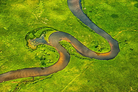 Aerial view of the meandering Pere Marquette River near its mouth, Michigan, USA