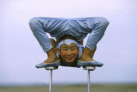 Acrobat girl, Nadaam Festival, Ulan Bator, Mongolia, Asia