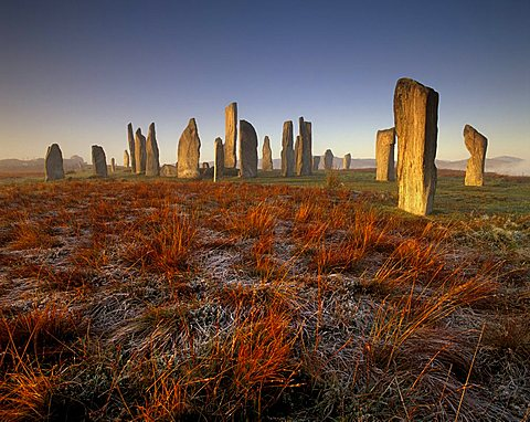 Callanish (Callanais) Stone Circle dating from Neolithic period between 3000 and 1500 BC, at dawn, Isle of Lewis, Outer Hebrides, Scotland, United Kingdom, Europe