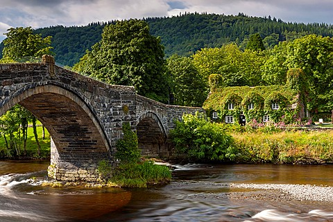 17th century stone bridge over the River Conwy at Llanrwst with the ivy-clad Tu Hwnt i´r Bont National Trust tearooms, The bridge was built in 1636, reputedly by Inigo Jones , Llanrwst, Conwy, North Wales