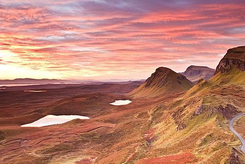 Beautiful pre-dawn light on the Trotternish Ridge, Isle of Skye, Inner Hebrides, Scotland, United Kingdom, Europe