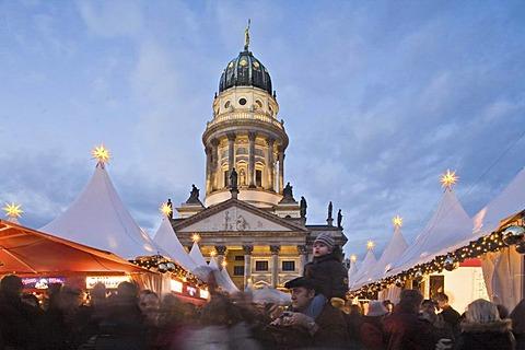 Christmas market, Deutscher Dom, Gendarmenmarkt, at night, Berlin, Germany