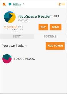 MetaMask wallet with NooCash tokens