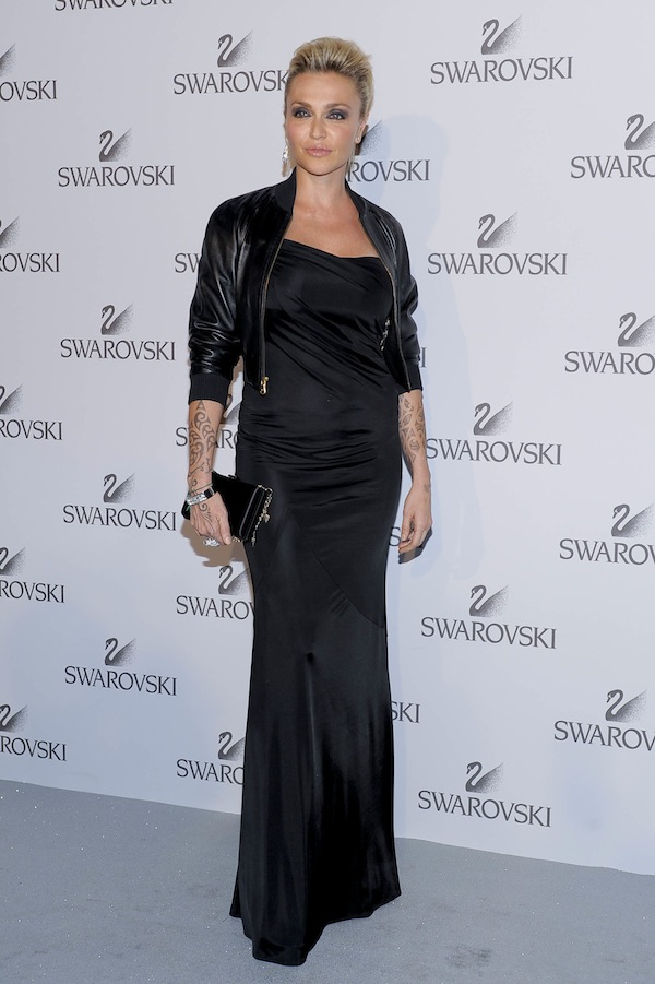 Paola Barale in Roberto Cavalli at the Swarowsky party 2011-06-07 in Milan
