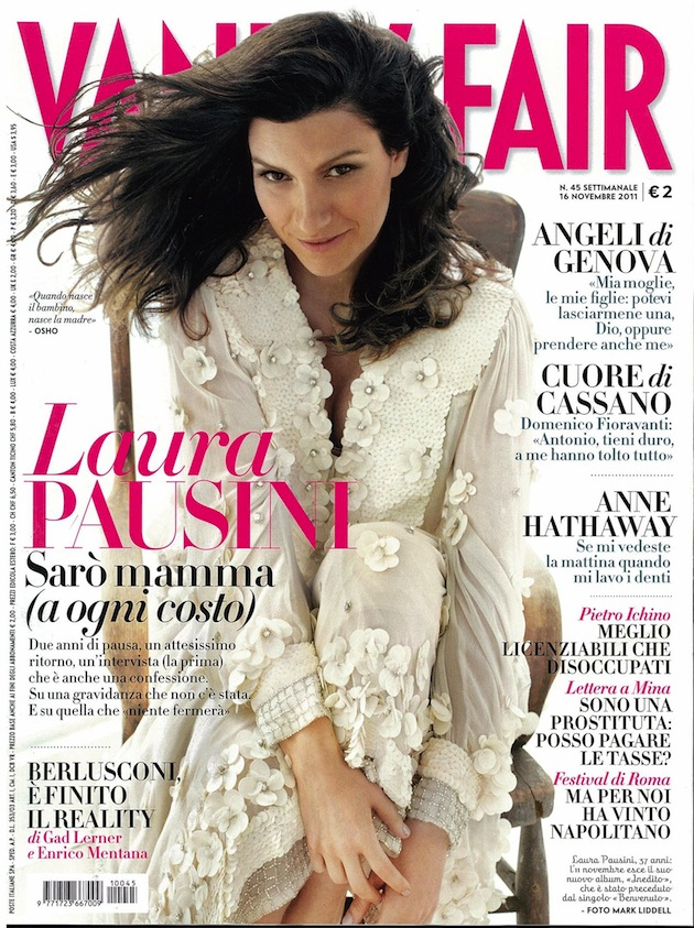 Laura Pausini in Just Cavalli on the cover of Vanity Fair Italy