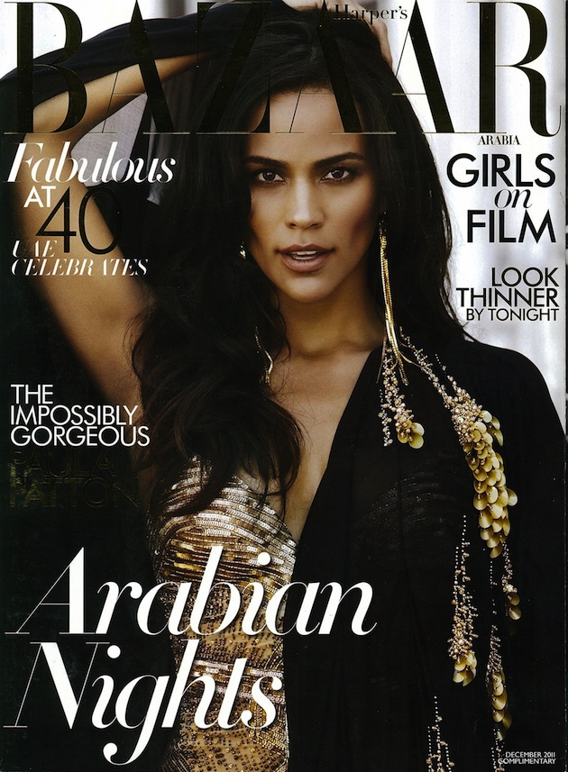 Paula Patton in Roberto Cavalli on the cover of Harper's Bazaar Arabia