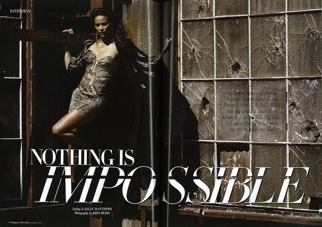 Paula Patton in Roberto Cavalli on the cover of Harper's Bazaar Arabia