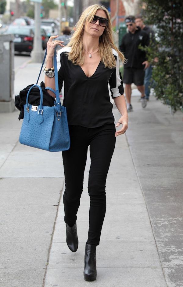 Heidi Klum wears Roberto Cavalli Florence Bag