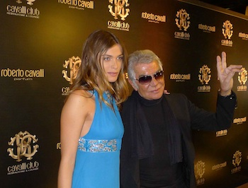 Roberto Cavalli with Elisa Sednaoui at the Roberto Cavalli Parfum launch in Dubai