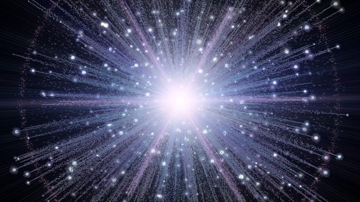 Ilustración 5: Existen diferentes representaciones artísticas sobre el Big Bang, en general se piensa que el Big Bang fue una explosión que arrojó toda la materia del universo en distintas direcciones, lo que da origen a las distintas formaciones de los objetos en él.