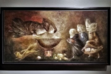 Santa Teresa en la cocina,1958, Leonora Carrington, óleo sobre tela, colección particular, cortesía de Drexel Galería, exposición Leonora Carrington, Cuentos Mágicos.