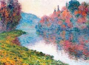Claude Monet (1884) Bancos del Sena en Jeufosse, Clima Despejado.<br />Oleo sobre lienzo 81 x 59.7 cm.