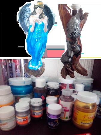 Ángel (2015): Técnica acrílico sobre cerámica.Tronco con lobos (2013): Técnica acrílico sobre fibra de vidrio.Obras y fotografías IE — 2016