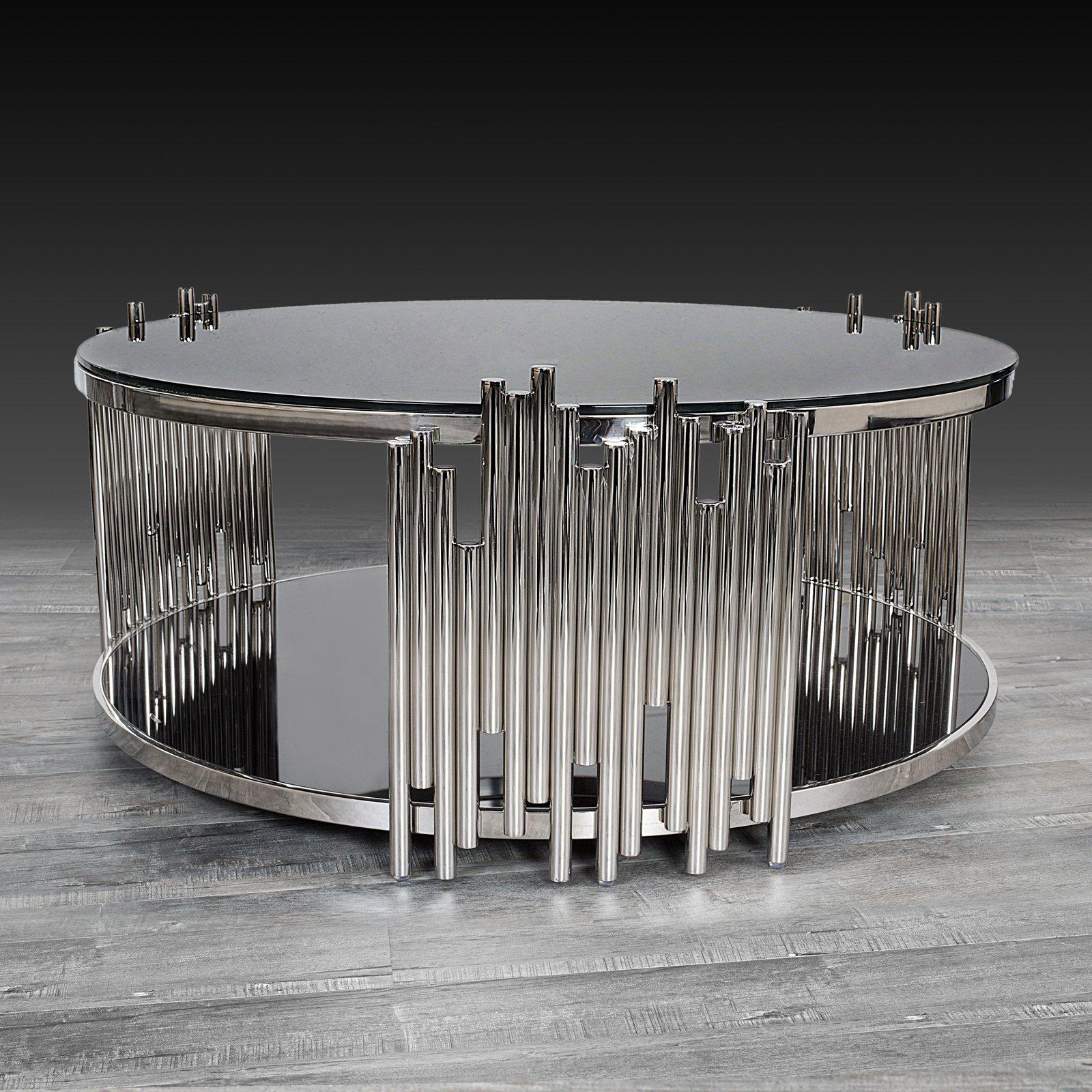 mauris round coffee table silver