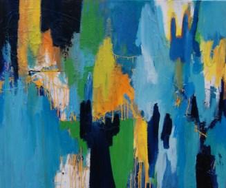 schilderij, robert, pennekamp, shop til you drop, olieverf, canvas, abstract, blauw, geel, lichtblauw, geel, oranje, wit, dripping, druiper