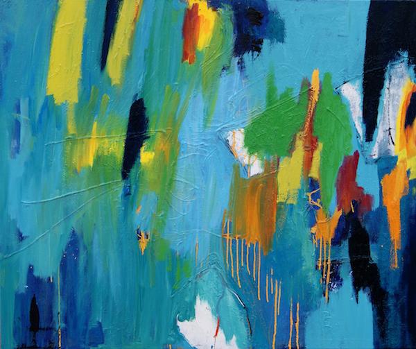 schilderij, robert, pennekamp, shop till you drop, olieverf, canvas, abstract, blauw, geel, lichtblauw, geel, oranje, wit, dripping, druiper, tinten, 403