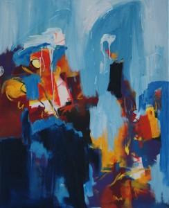 schilderij, robert, pennekamp, maar ik wil ook mee, 655, olieverf, canvas, linnen, abstract, blauw, lichtblauw, kopen, blauw, lichtblauw, figuratief, wild
