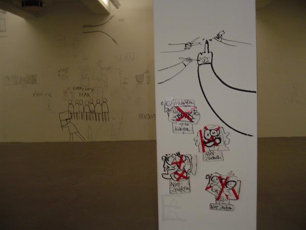 site specific art action, expositie, stedelijk museum, amsterdam, robert, pennekamp, dan perjovschi