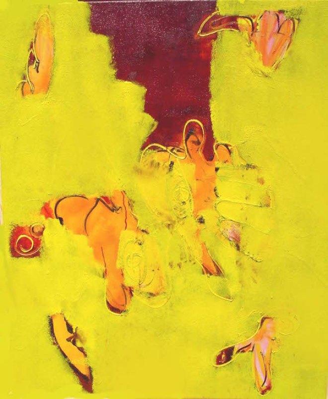 Grondig geel, 100 x 120 cm, olieverf op linnen, Robert Pennekamp, 2002.