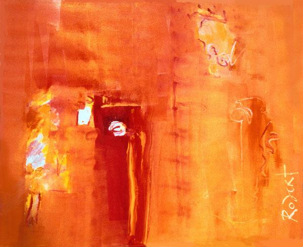 prasanti lekkerwel, prasanti, india, oranje, goeroe, robert, pennekamp, mooi , schilderij, geel, boeddha, miljonair, rode aarde, gelukkig, abstract, 124