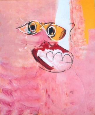 vrolijk genoegen, 130, kleuren, rood, oranje, roze, geel, abstract, figuratief, schilderij, robert, pennekamp, robert pennekamp, lekker, heerlijk, gezicht,