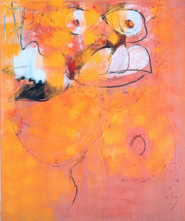 graag weer, naakt, vrouw, 149, kleuren, oranje, roze, geel, abstract, figuratief, schilderij, robert, pennekamp, robert pennekamp, graag, weer, gezicht,
