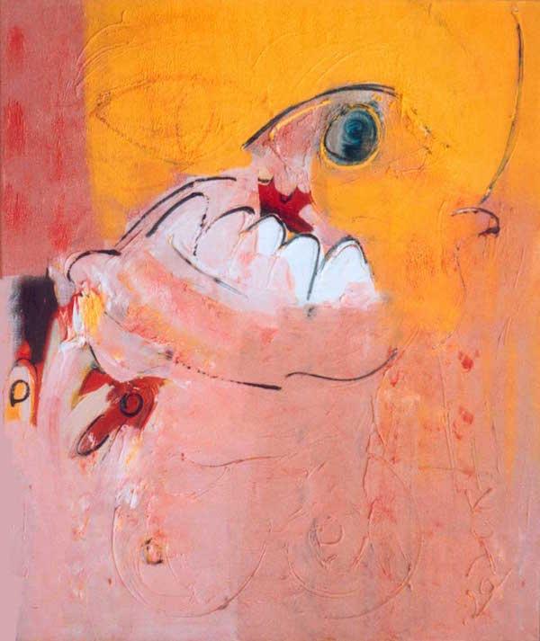 vreet je op, kleuren, rood, oranje, roze, geel, abstract, figuratief, schilderij, robert, pennekamp, robert pennekamp, lekker, heerlijk, 183, gezicht, tand