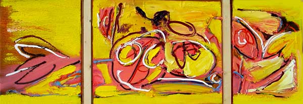 Winnen, conferentie formaat, conferentie, vergaderen, tafel , langwerpig, Robert, Pennekamp, Robert Pennekamp, olieverf, linnen, painting, oil, schilderij, 242, oranje, rood, geel, roze, gemengde technieken