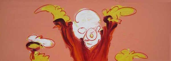 Blij, conferentie formaat, conferentie, vergaderen, tafel , langwerpig, Robert, Pennekamp, Robert Pennekamp, olieverf, linnen, painting, oil, schilderij, 249, oranje, rood, geel, roze, gemengde technieken