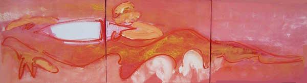 Goh nu al, conferentie formaat, conferentie, vergaderen, tafel , langwerpig, Robert, Pennekamp, Robert Pennekamp, olieverf, linnen, painting, oil, schilderij, 254, oranje, rood, geel, roze, gemengde technieken