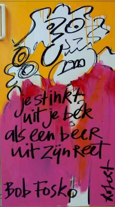 Bob Fosko, bekende nederlander, harde uitspraak, ingelijste, koelkast, deur