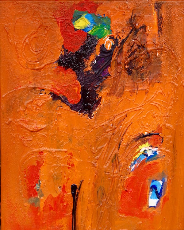 schilderij, painting, art, Vrolijk vliegend oranje stukje in het rond, Robert Pennekamp, gemengde technieken, 2017, 551