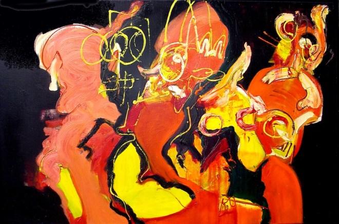 Chaos, Robert pennekamp, schilderij, painting, abstract, expressief, expressive, orange, red, black, people, cobra, olieverf, doek, linnen, geweldig, mooi,