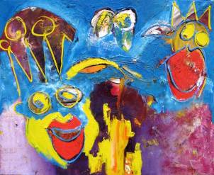 Prutsi weet het, pruts, prutsi, 198, Robert Pennekamp, olieverf, oil, canvas, painting, king, smile mouth, mond, red, queen, win, prats, kingdom, kroon, kleurrijk, dynamisch, expressief, zee