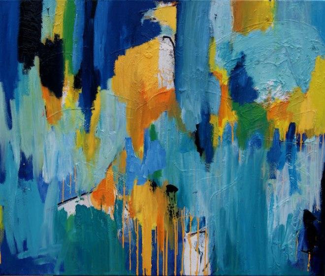Chop it, drop it, Robert Pennekamp, olieverf op linnen, blauw, geel, groen, wit, structuur, oranje geel, schilderij, painting, abstract, colorfield, hak het, laat het vallen, over gaan, loslaten,