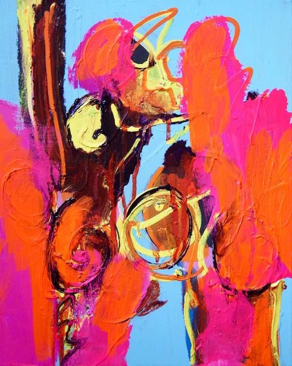 kleurig., leuk, fris, vrolijk, doen, gewoon, beste , keuze, zeker, beest, hoofd, kop, wild, fluor, expressief, ook, goedmorgen, schilderij, canvas, ook Goedemorgen