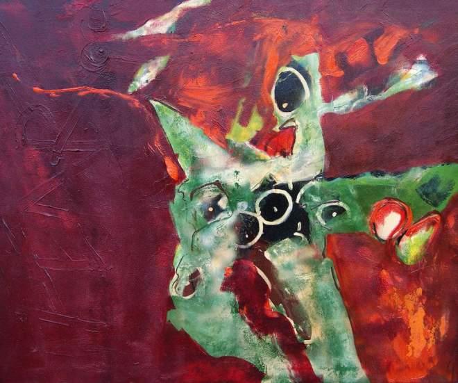 versnelling, beest, draak, vuurspuwer, schilderij, olieverf, acryl, expressionisme, abstract, figuratief, lekker, positief, honden, galerie, modern art, expressief, kleurrijk, vliegen, robert, pennekamp