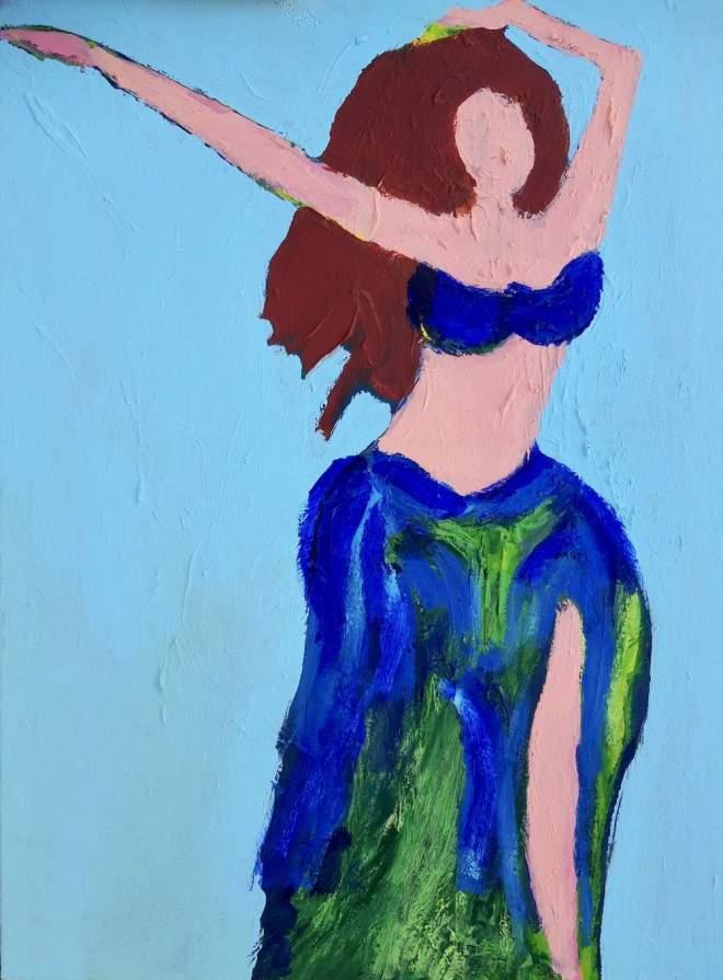 buikdanseres, dans, danseres, bellydance, amsterdam, expressionisme, wild, blauw, robert, pennekamp, schilderij, olieverf, acryl, gemengde, technieken, impressie, model, kleding,