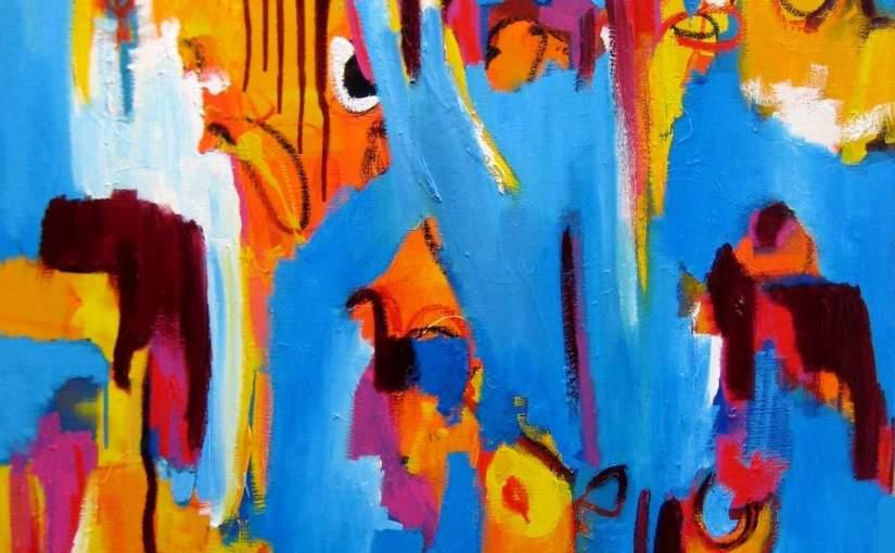 schilderij, groot, olieverf, canvas, moderne, kunst, figuratief, abstract, kunnen, mogelijkheden, positief, 424, water, expressief, blauw, rijk, abstract, mooi, amsterdam,