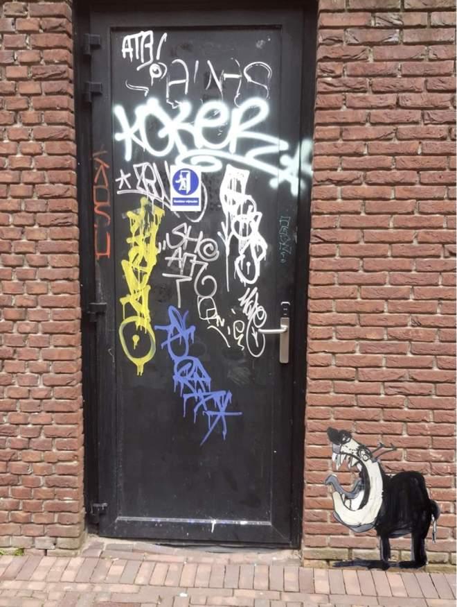 hond, robert, pennekamp, strip, cartoon, streetart, waakhond, collage, beest, tekening, zwart, wit, illustratie