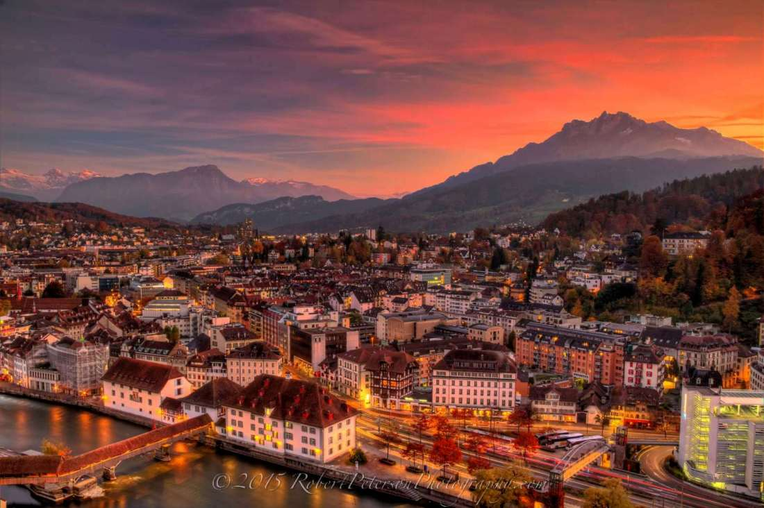 Lucerne, Switzerland as viewed from the old wall tower at sunset