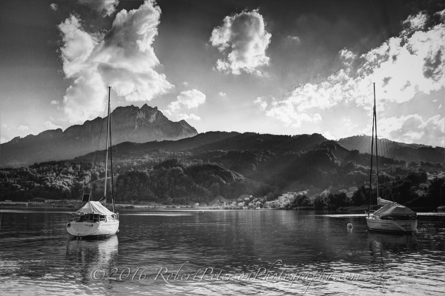Lake Lucerne Mount Pilatus Sailboats Sunset Black and White Scene Switzerland