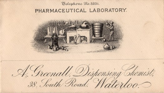 A Greenall, Dispensing Chemist, 38 South Road, Waterloo, Telephone No. 3231
