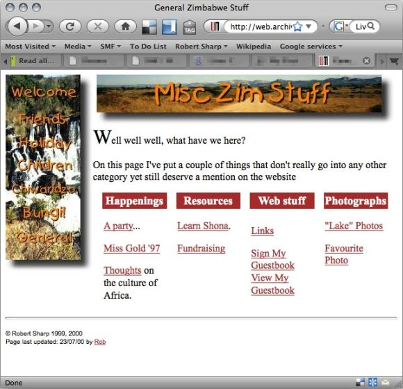 My first website, using rudimentary CSS and an ill-advised use of Comic Sans