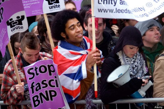 Anti fascist demonstrators in Leeds
