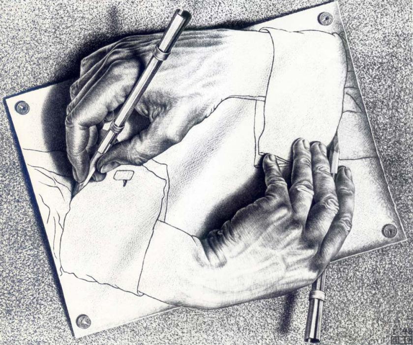 Drawing Hands, M.C. Escher, 1948