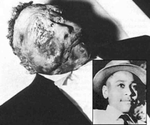 Emmett Till in his open casket, 1955