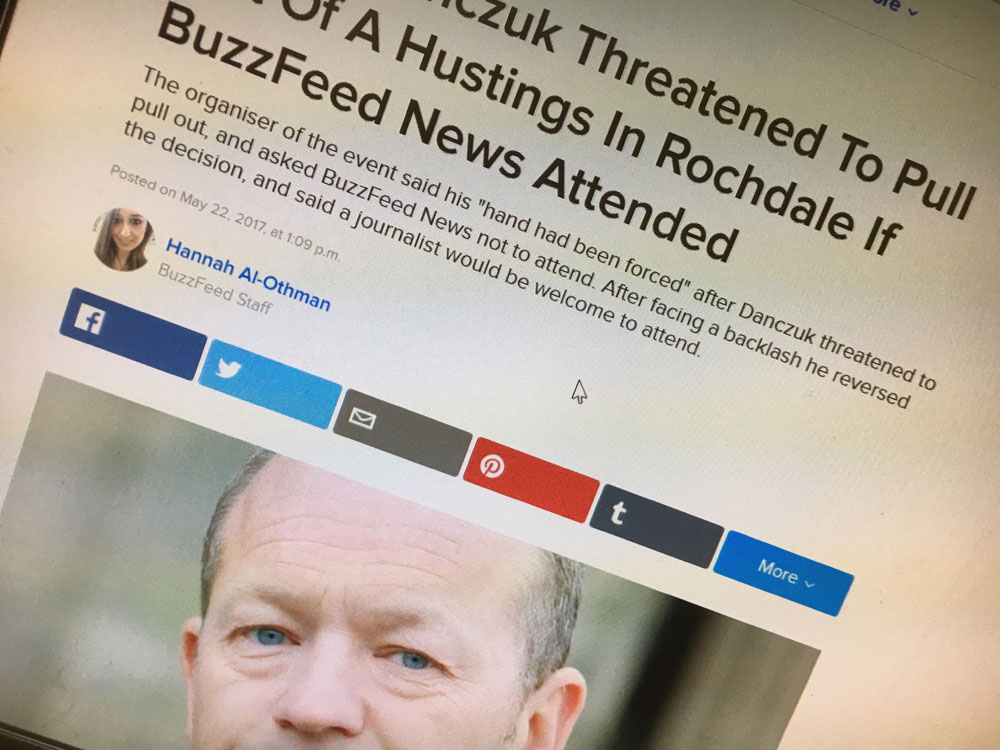 Quoted by BuzzFeed News condemning the barring of journalists from political events
