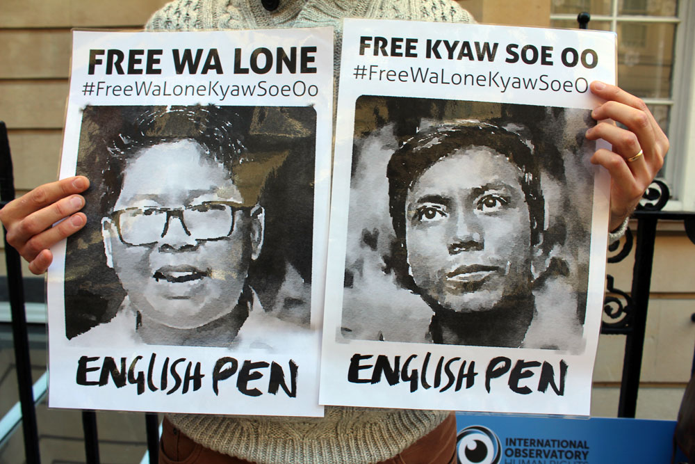 English PEN banners protesting the imprisonment of Free Wa Lone and Kyaw Soe Oo
